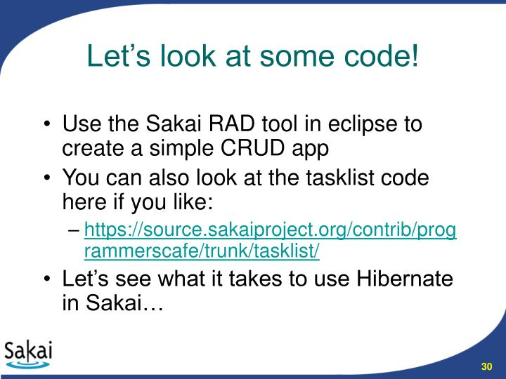 Use the Sakai RAD tool in eclipse to create a simple CRUD app
