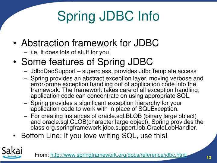 Abstraction framework for JDBC
