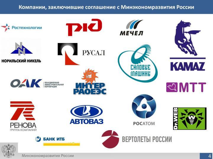 Компании, заключившие соглашение с Минэкономразвития России