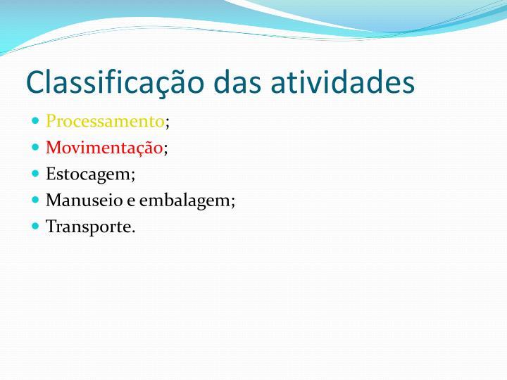Classificação das atividades