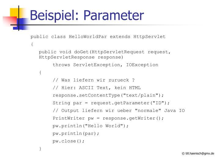 Beispiel: Parameter