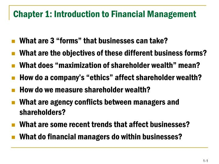 intro to financial management essay example