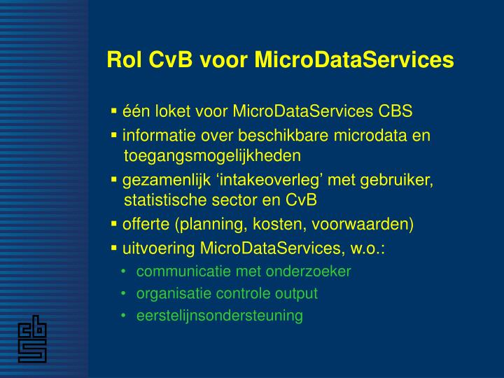 Rol CvB voor MicroDataServices
