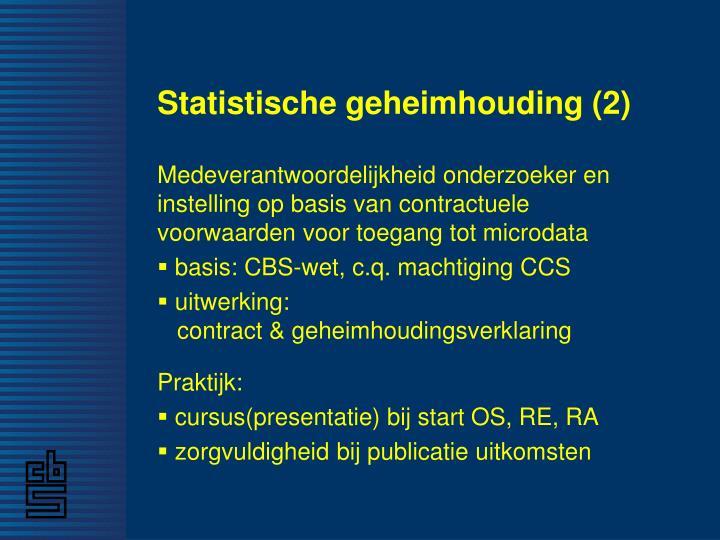 Statistische geheimhouding (2)