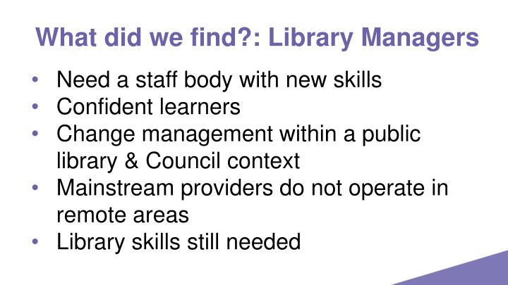 What did we find?: Library Managers