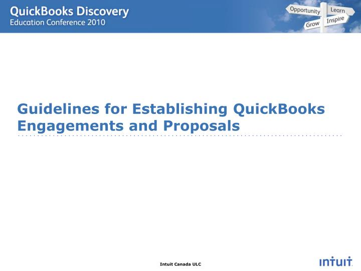 Guidelines for Establishing QuickBooks  Engagements and Proposals