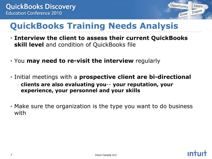 QuickBooks Training Needs Analysis