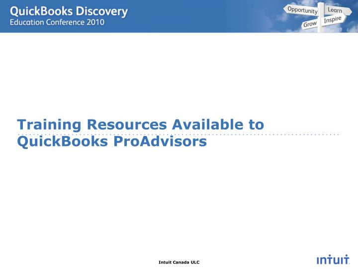 Training Resources Available to QuickBooks ProAdvisors