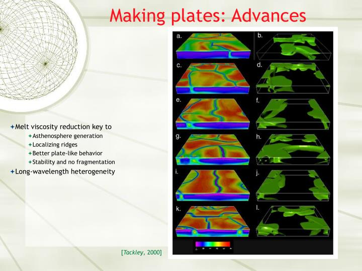 Making plates: Advances