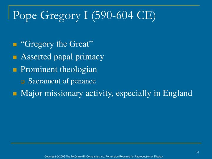 Pope Gregory I (590-604 CE)