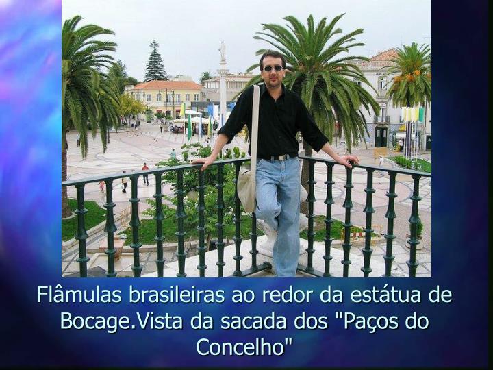 """Flâmulas brasileiras ao redor da estátua de Bocage.Vista da sacada dos """"Paços do Concelho"""""""