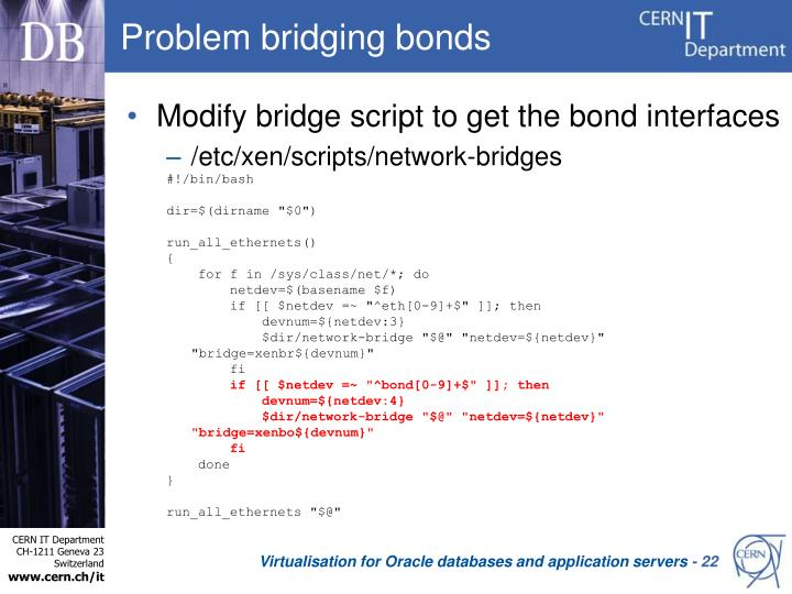 Problem bridging bonds