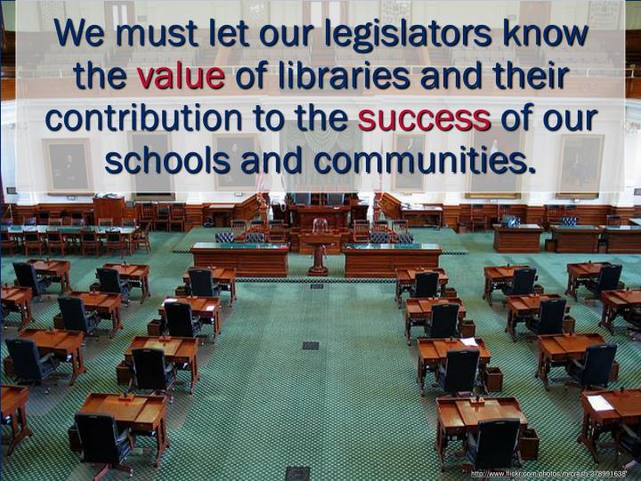 We must let our legislators know the