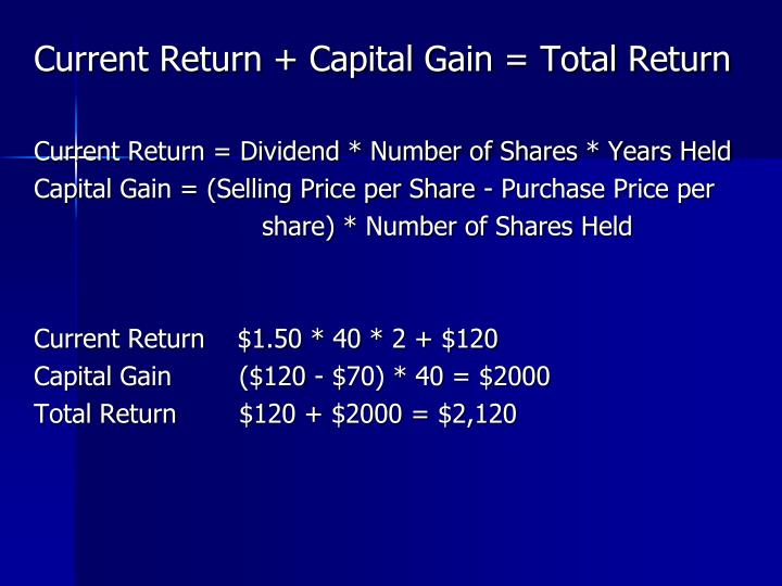 Current Return + Capital Gain = Total Return