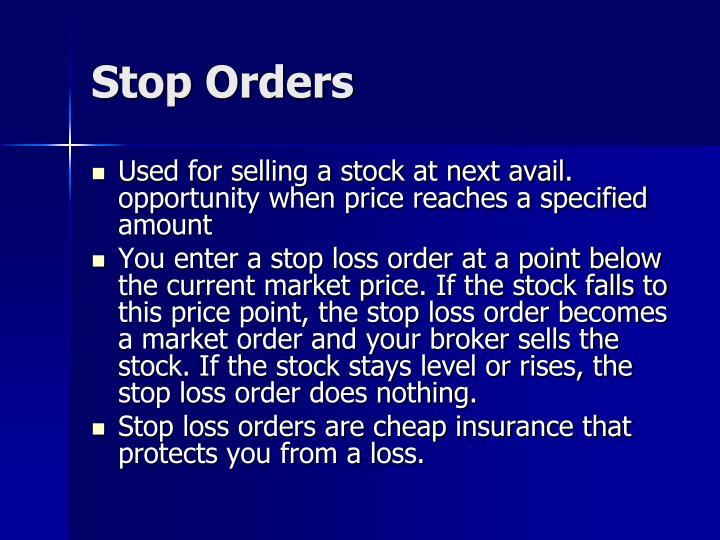 Stop Orders