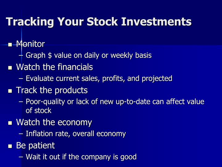 Tracking Your Stock Investments