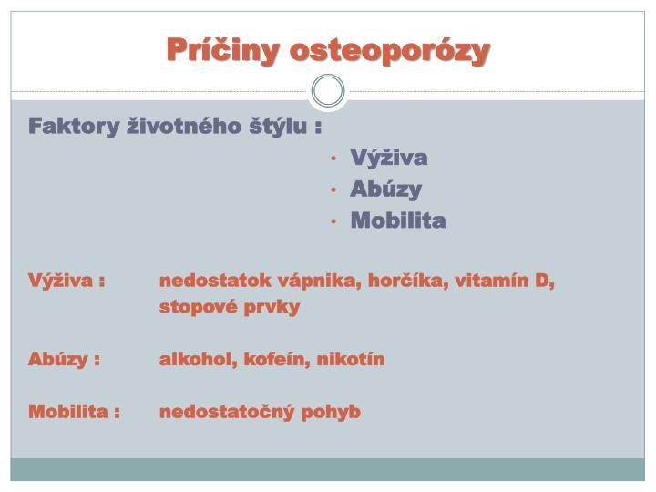 Príčiny osteoporózy