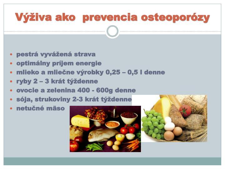Výživa ako  prevencia osteoporózy