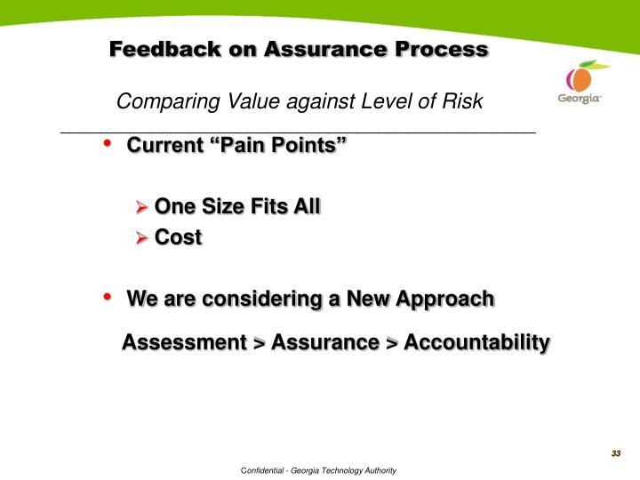 Feedback on Assurance Process