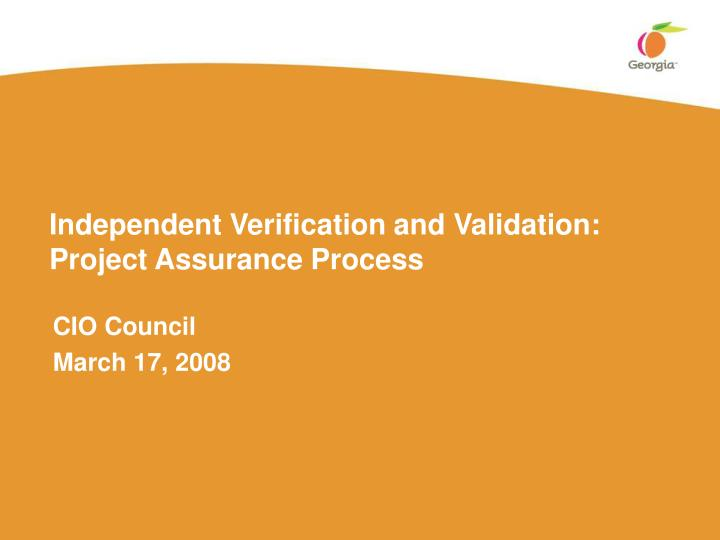 Independent Verification and Validation: