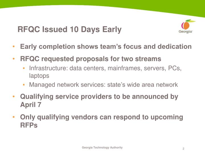 Rfqc issued 10 days early