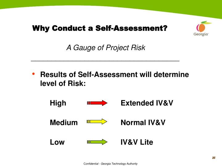 Why Conduct a Self-Assessment?