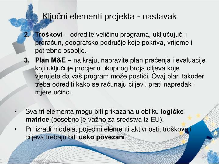 Ključni elementi projekta - nastavak