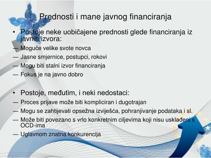 Prednosti i mane javnog financiranja