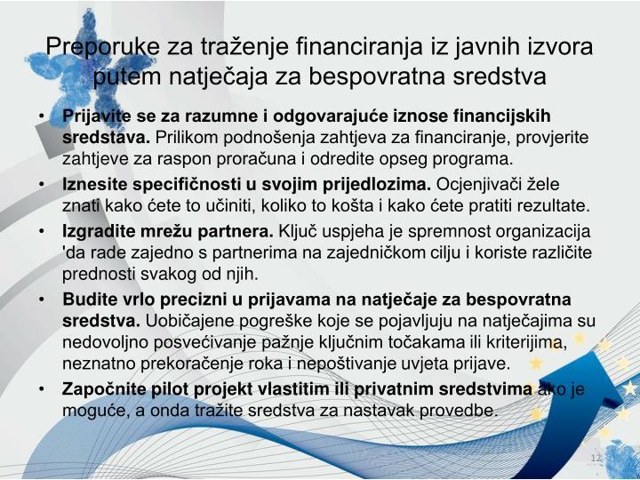 Preporuke za traženje financiranja iz javnih izvora putem natječaja za bespovratna sredstva