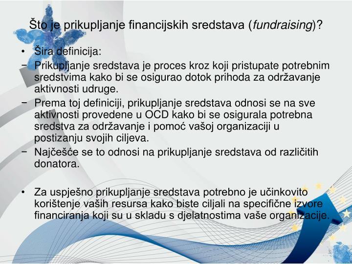 Što je prikupljanje financijskih sredstava (