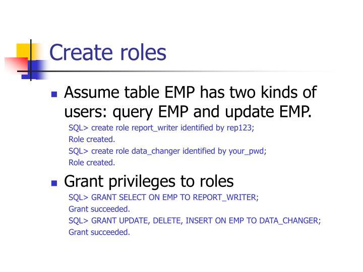 Create roles