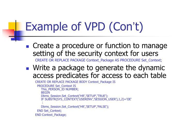 Example of VPD (Con