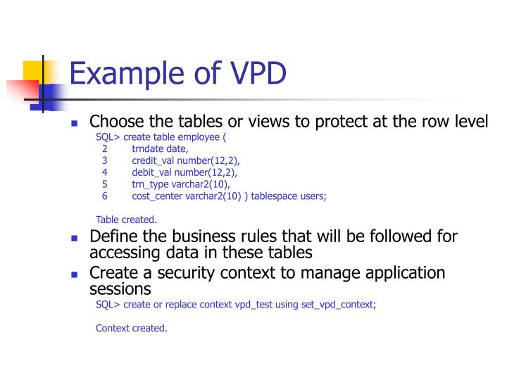 Example of VPD