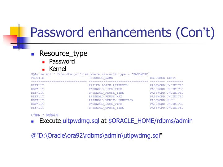 Password enhancements (Con