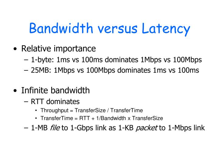 Bandwidth versus Latency