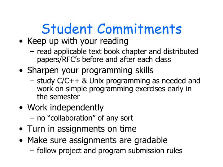 Student Commitments