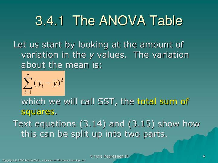 3.4.1  The ANOVA Table