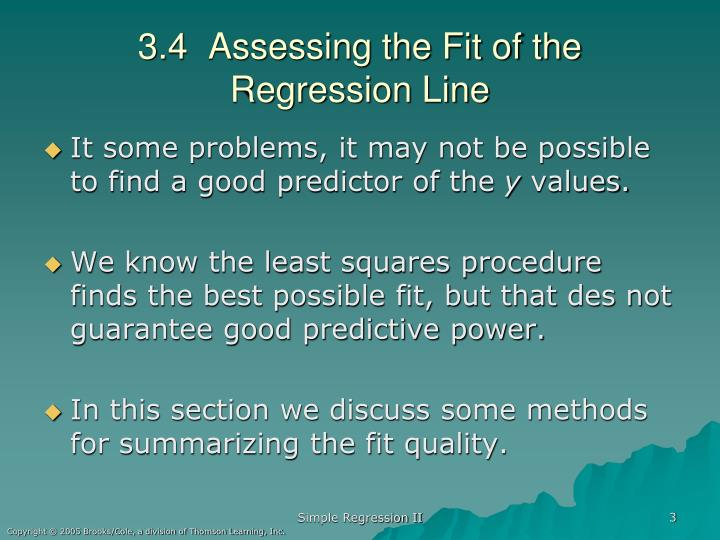 3.4  Assessing the Fit of the Regression Line