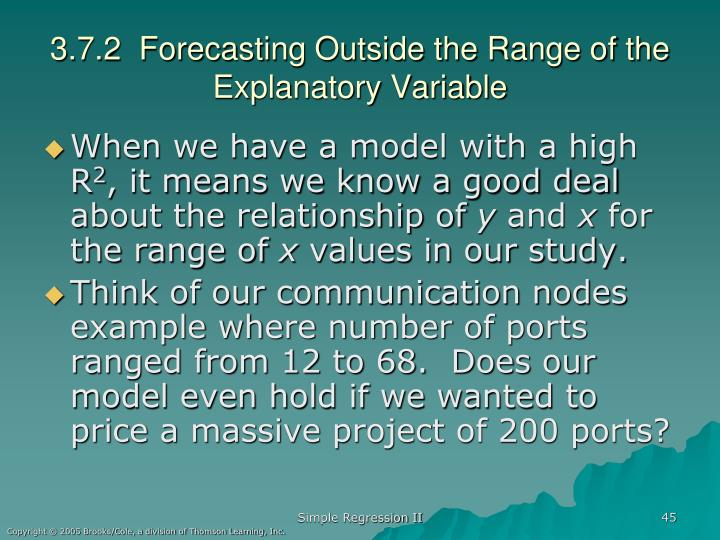 3.7.2  Forecasting Outside the Range of the Explanatory Variable