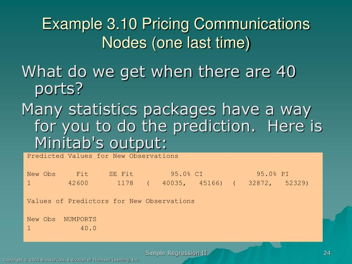 Example 3.10 Pricing Communications Nodes (one last time)