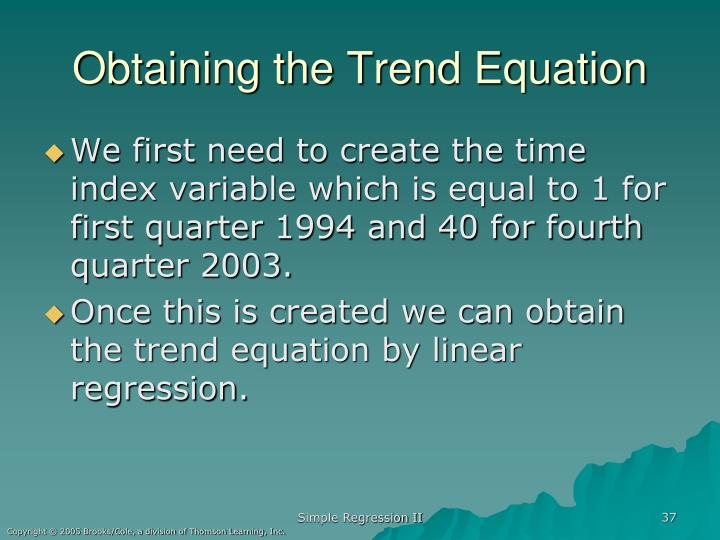 Obtaining the Trend Equation