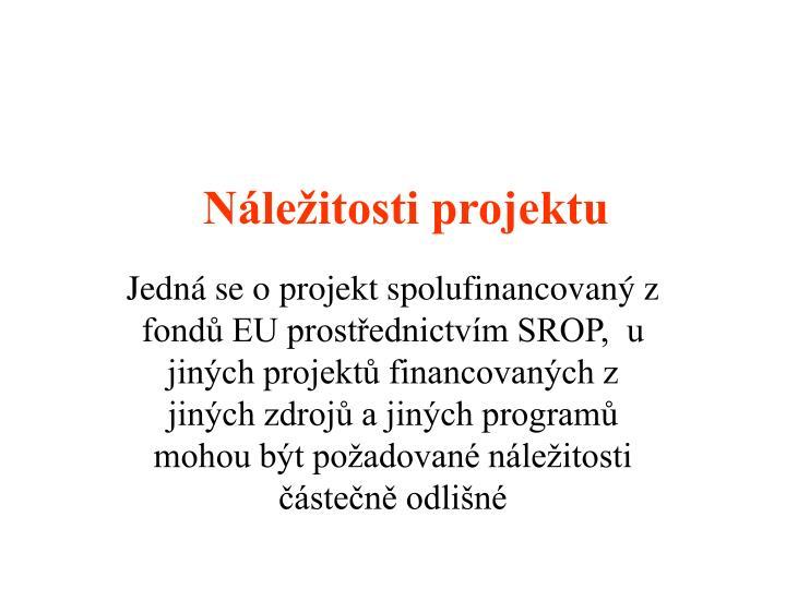 Náležitosti projektu