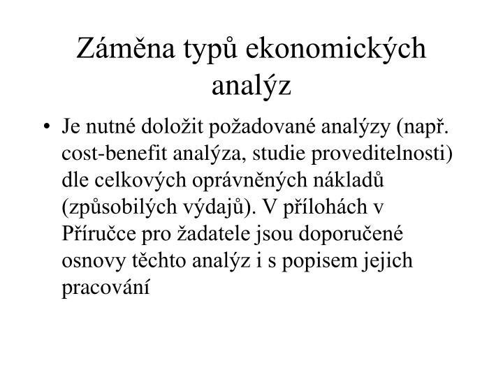 Záměna typů ekonomických analýz