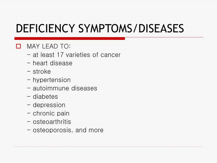 DEFICIENCY SYMPTOMS/DISEASES