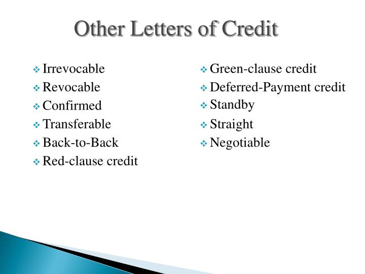 Other Letters of Credit