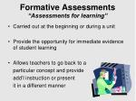 formative assessments assessments for learning