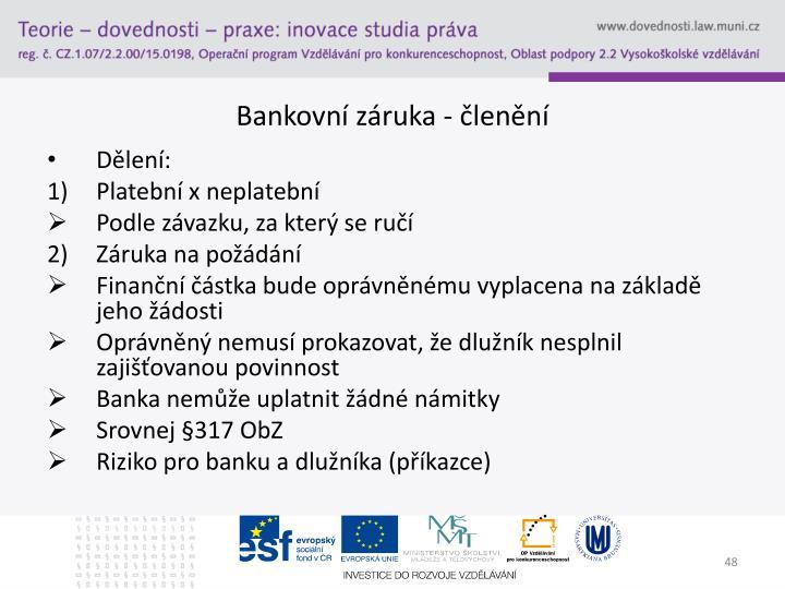 Bankovní záruka - členění