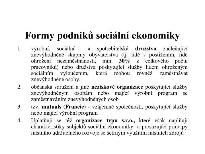 Formy podniků sociální ekonomiky