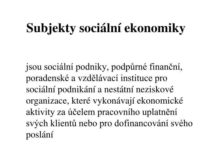 Subjekty sociální ekonomiky