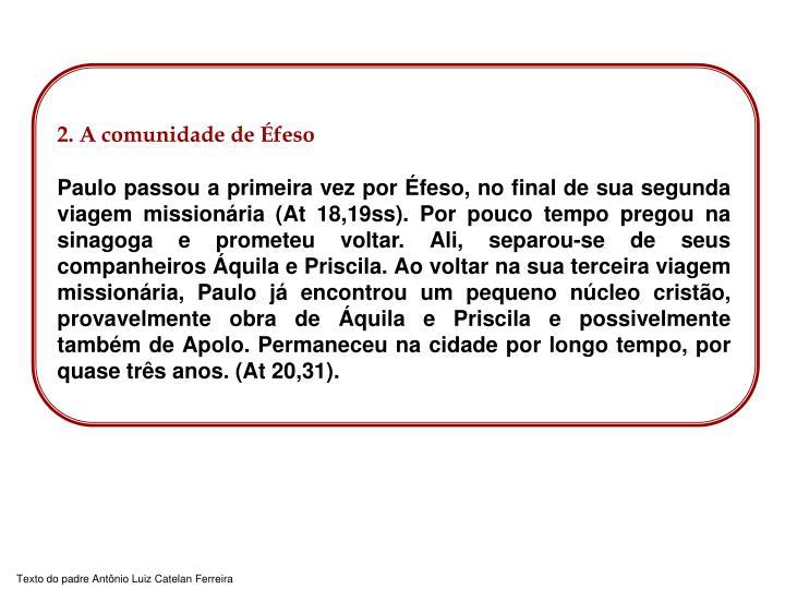 2. A comunidade de Éfeso